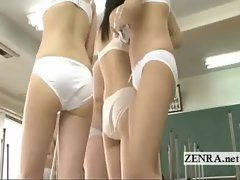 Jap schoolgirls clean bottomless and then naked