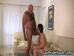 Raunchy gay bear banging and licking gays