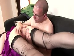 Randy lads gets her snatch dripping so he can fuck her from behind
