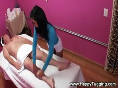 Petit asian masseuse gives a fabulous rubb down to her client