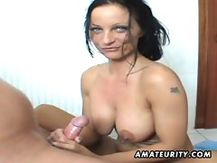 Big titted amateur Mummy caresses and rides in her bathroom