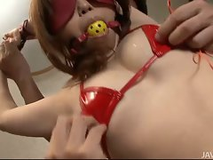 Bound and gagged Ai Ootomo has her nipples pinched brutal