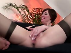 Attractive mature stockings vagina hammered by dude