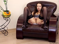 Sassy teen young woman spreading her legs on a sofa
