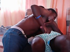 Black african twinks Chris and Max on attractive cock sucking