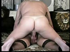 Elder Gent caresses his cum out of her butt