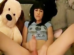 Sensual Luscious teen Shemale Caresses Her Extremely big cock and Cums
