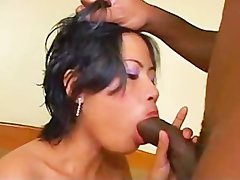 Shy asian harlot getting creampied by a large ebony shaft